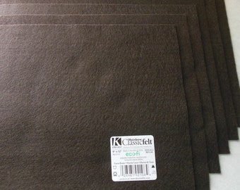 KUNIN Rainbow Classic Felt Six  9x12  Sheets Cocoa Brown