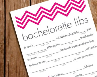 Printable-Bachelorette Party Game- Mad Libs