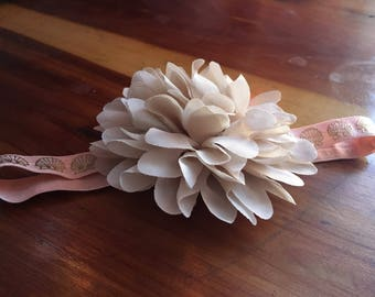 Tan and pink flower headband