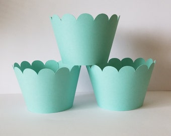 Solid Light Teal Cupcake Wrappers, Party decorations cupcake holders, party supplies cupcake wraps, cupcake sleeves, paper goods, festive