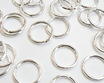 50 Jump Rings round open shiny silver 16mm 16 gauge PJRS16mm