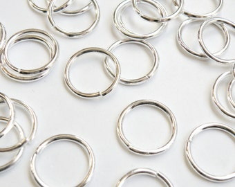 50 Jump Rings round open shiny silver 20mm 14 gauge PJRS20mm