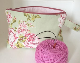 Knitting project bag / make up / crochet project bag / sock knitting project bag Spring floral rose