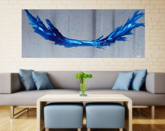 CRASHING TIDE - original painting made in Melbourne - 152 X 61 CMS - Abstract Art wall canvas painting home decor Large Huge