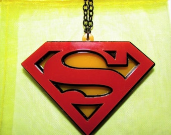 Superman Style DC Comic Book Nerd Geek Necklace