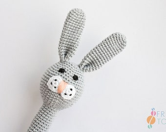 BUNNY Rattle Toy for Babies, Crochet Rattle Toy, Teething Toy, Easter Gift for Baby, Baby Shower Gift