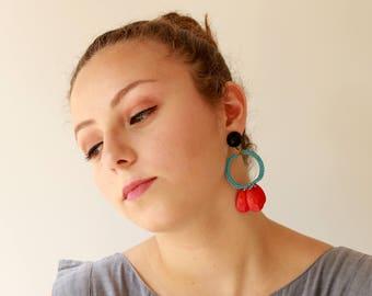 Große Boho Ohrring, Ohrring Kreis, rot und Türkis Aqua, rot bunten Sommer-Ohrringe