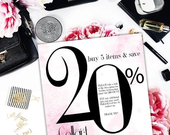 Discount Coupon - Buy 5 items and save 20% - Coupon Codes - watercolor clipart - digital paper pack