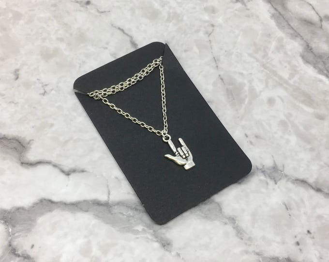 AMOR: i love you ASL necklace on chain