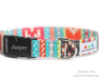 Personalized Aztec Dog Collar, Tribal, Navajo Dog Collar - Tabasco Tribal Engraved Collar (Shown with optional Engraving)