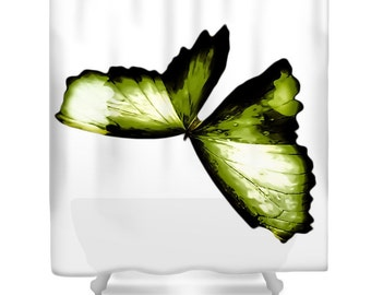 Shower Curtains, shower curtain, Butterfly shower curtain, green shower curtain, nature shower curtain, insect shower curtain, home decor