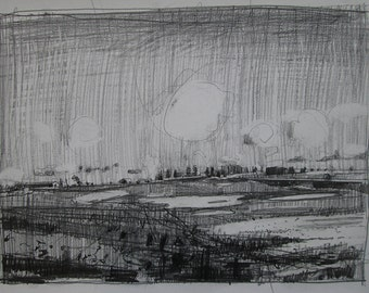 Slow Thaw, Original Landscape Pencil Drawing on Paper, Stooshinoff