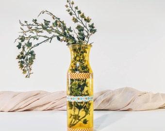 Vintage vase/ Yellow vase/ Vintage yellow vase/ Milk bottle vase/ Textured vase/ Washi tape vase