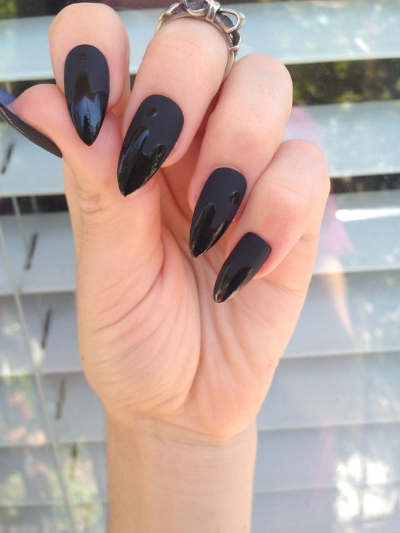 Matte Black Stiletto nails 24 drip matt black nails Matte
