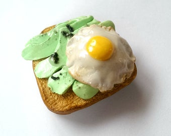 Avocado Toast with Egg Magnet Food Magnets Cute Fridge magnets Food Jewelry Funny Office Decor Vegan Gift