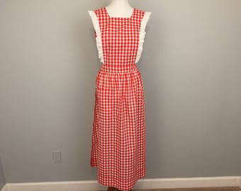 Red Checkered Apron Bib Apron Pinafore Long Apron Gingham Picnic Apron Farmhouse Vintage Apron Christmas Linens Vintage Linens Womens Apron