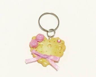 Purple Delusion Heart Cookie Key Charm
