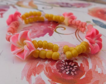 Pink and Yellow Tropical Flower Elastic Bracelet
