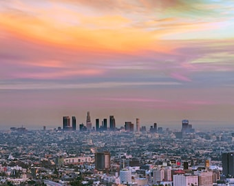 Downtown Los Angeles Photography Cityscape Sunset California Fine Art Photograph Wall Art Decor | Also Available on Canvas or Metal