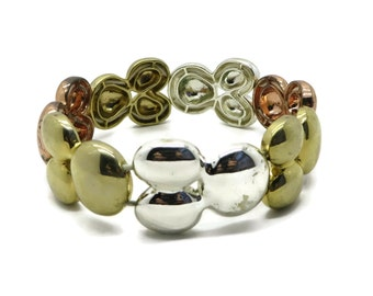 Chunky Stretch Bracelet, Vintage Triple Tone Bracelet, Metal Stretch Bracelet, Gold Tone Bracelet, Silver Tone Bracelet, Copper Tone Bangle