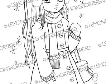 Digital Stamp Winter Girl, Shopping Digi Download, Ear Muff, Fashion, Snow, Scrapbooking Supplies, Card Making, Coloring Page, Clip Art