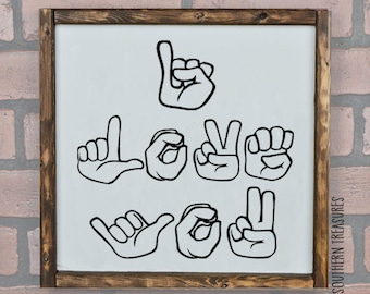 Sign Language I Love You Framed Farmhouse Style Wood Sign