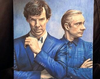 Original Colored Pencil Drawing of Benedict Cumberbatch as Sherlock Holmes and Martin Freeman as John Watson  (NOT a print)