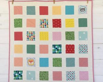 Baby Quilt/ Baby Blanket/ Handmade Mini quilt/ Stroller Blanket /Baby Play Mat/Patchwork Mini quilt/ Crib Blanket