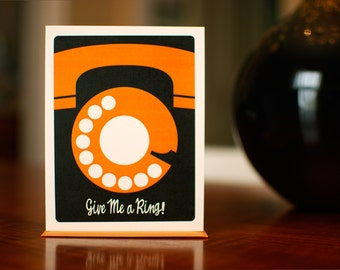 Give Me a Ring - Retro Rotary Phone Thinking of You Card on 100% Recycled Paper