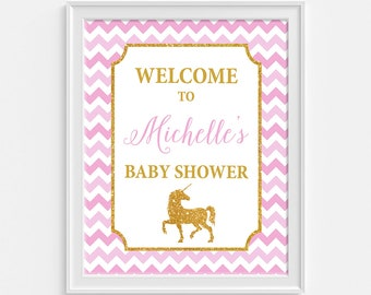 Unicorn Baby Shower Welcome Sign, Pink and Gold Glitter Personalized Shower Welcome Sign, DIY PRINTABLE