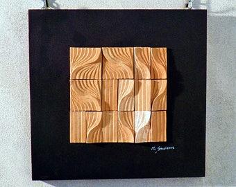 Terracotta art on wood panel. Size cm. 34x35 .5. Ceramic art. Home furnishing. Art. Wall decoration.