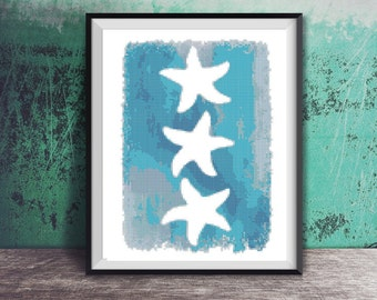 Three Starfish Silhouette Green Blue Watercolor Beach Art Counted Cross Stitch Pattern - PDF Digital Download
