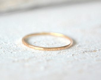 Gold Stacking Ring- Simple Gold Band, Hammered Stacking Ring, Stacking Gold Ring, Stackable Ring,  Minimalist Ring, Midi Ring
