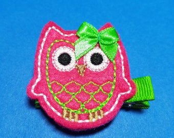 Hot Pink Owl Felt Hairbow Clippie - For Infant Toddler Girl