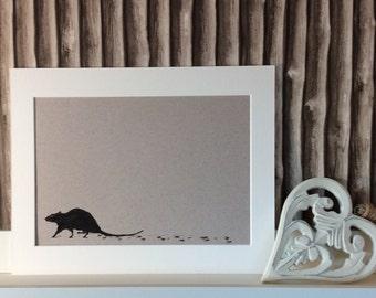 Edinburgh Inky Animals part 2-drawing-Scottish-animal art-silhouette-Edinburgh-black and white-living room-hall decor-unique-rat-pigeon-