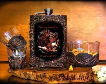 Whiskey Flask set~Groomsmen flask~Eagle gift~Gift for men~Custom gift set~Whiskey set~Men gift~Anniversary~Groomsmen flask