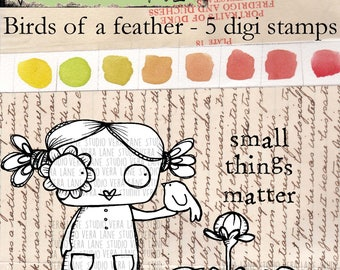 Birds of a feather; small things matter - 5 digi stamp bundle in JPG and PNG files