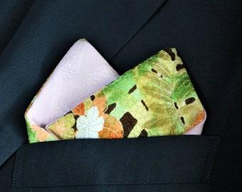 Pocket Square Men's 2 Style Japanese Vintage Kimono Fabric With Gift BOX HANDMADE 67