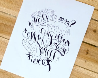 What's In A Name? // Shakespeare // Printable // Romeo and Juliet // Poetry // Inspirational // Quote Art // Handlettered // Wall Art