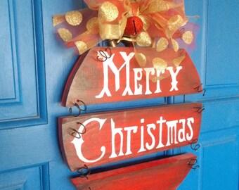 Christmas Door Wreath, Merry Christmas Sign, Holiday Door Hanger, Wood Sign, Holiday Wreath, Ornament Wreath, Holiday Sign, Christmas Sign