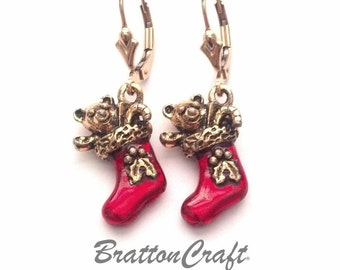 Red Christmas Stocking Earrings - Christmas Stocking Earrings - Red Christmas Jewelry - Holiday Earrings - Holiday Jewelry
