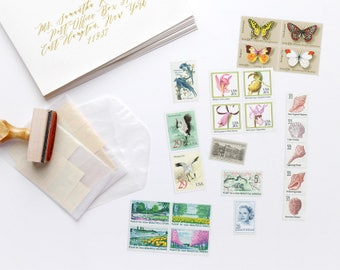 Vintage Postage Photographer's Stylist's Set 1; Birds, Butterflies, Flowers, Seashells, Grace Kelly, Architecture