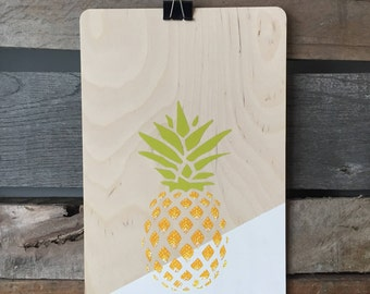 Wooden - pineapple wall poster
