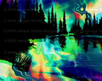Blue Moon Hand Created 4 Fabric 100% Cotton Sateen Art Prints Panel Landscape Aurora Borealis Sunset Quilting