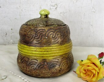 Antique Tobacco Jar Humidor Ceramic Pottery Majolica Brown Yellow