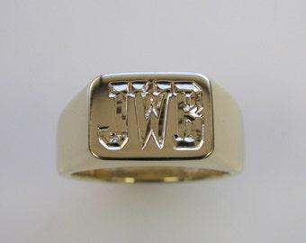 Personalized Mens 14k Yellow Gold Signet Monogram Ring