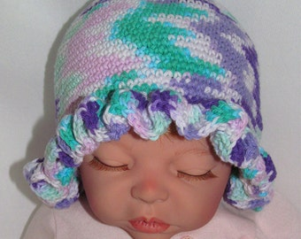 Baby Hats, Pink Baby Hat, Purple Baby Hat, Ruffled Brim Baby Hat