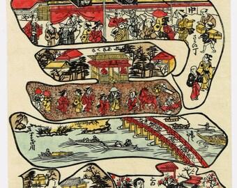 """Japanese Ukiyo-e Woodblock print, Hagawa Okinobu, """"Celebrated Places of Edo Enclosed in The Outline Character """"JU""""(celebration)"""""""""""