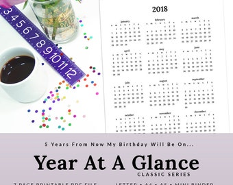 Printable Annual Planner Year At A Glance Calendar 2018 2019 2020 2021 2022 Ultra Violet | PYAG-1103-A, INSTANT DOWNLOAD