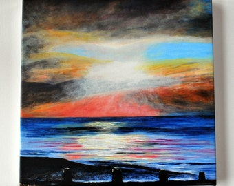 After the Storm Print with Hand Embellishment. replica of Seascape Painting. Sunset scene. Home decor.